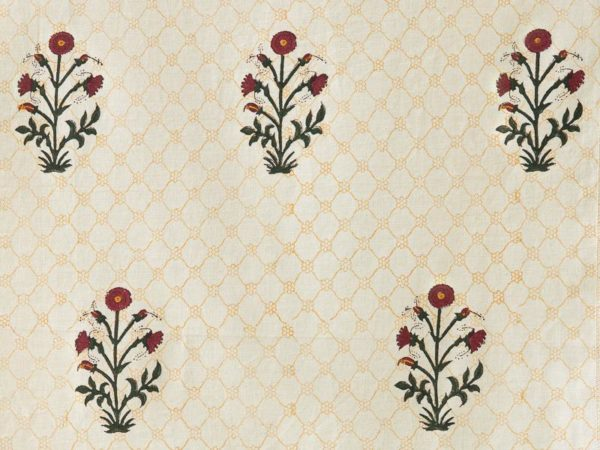 Traditional red poppy Mughal block print fabric swatch