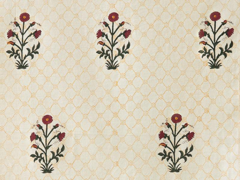A swatch of a red poppy pattern, traditional in Indian decor and style