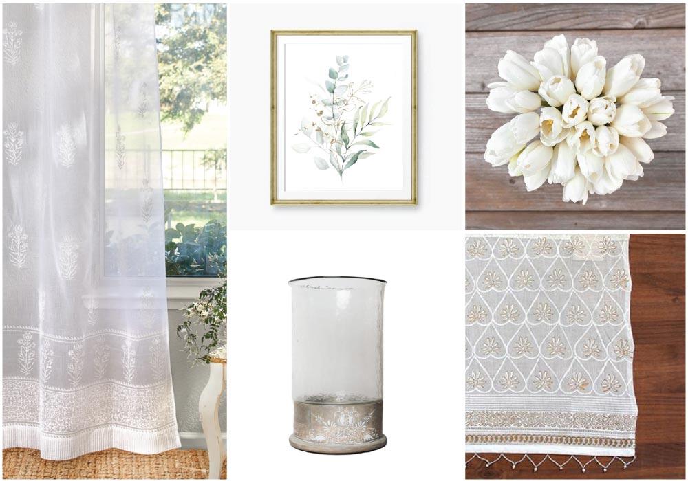 white sheer curtains, white flowers, and botanical decor