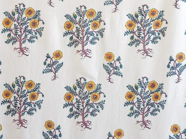 Yellow floral print fabric swatch in a French country pattern