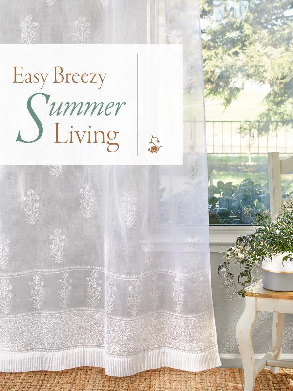 sheer white curtain and summer decor ideas