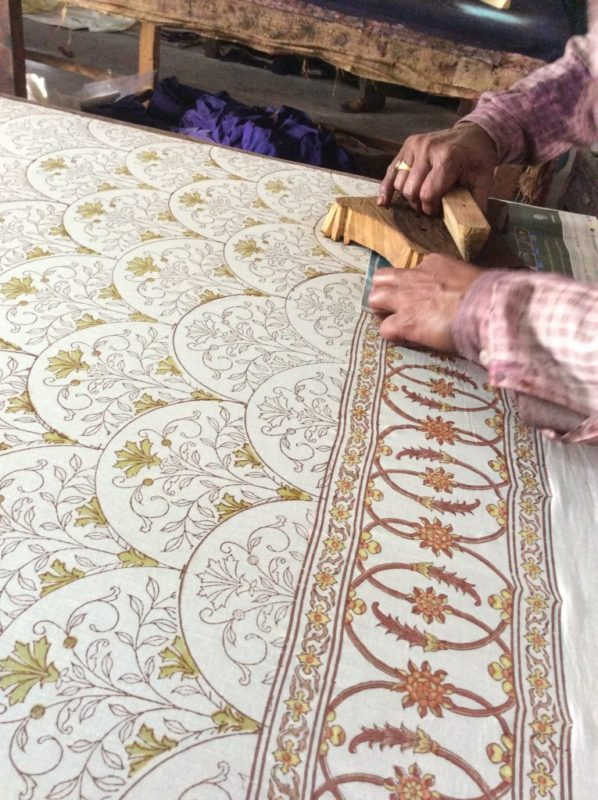 Block printing begins with the border of a block print fabric first.