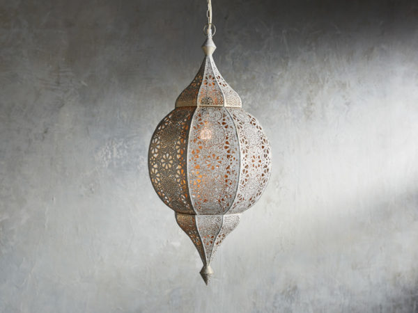 Moroccan home decor example-silver punched pendant
