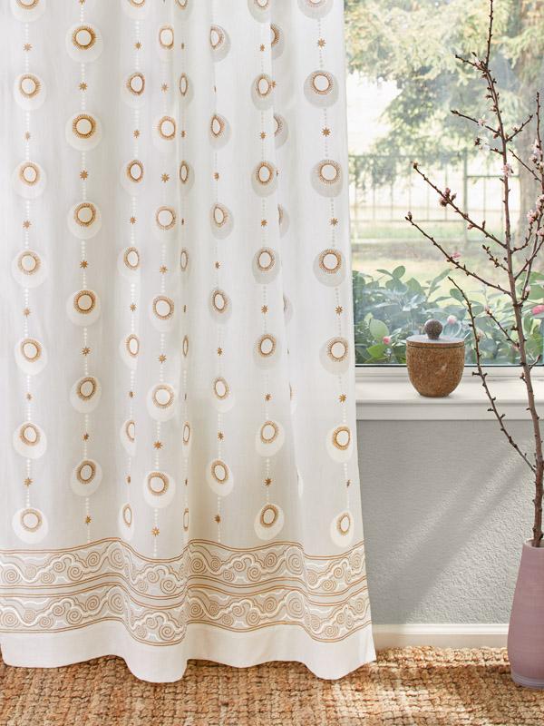 boho white and gold curtains as zen decor
