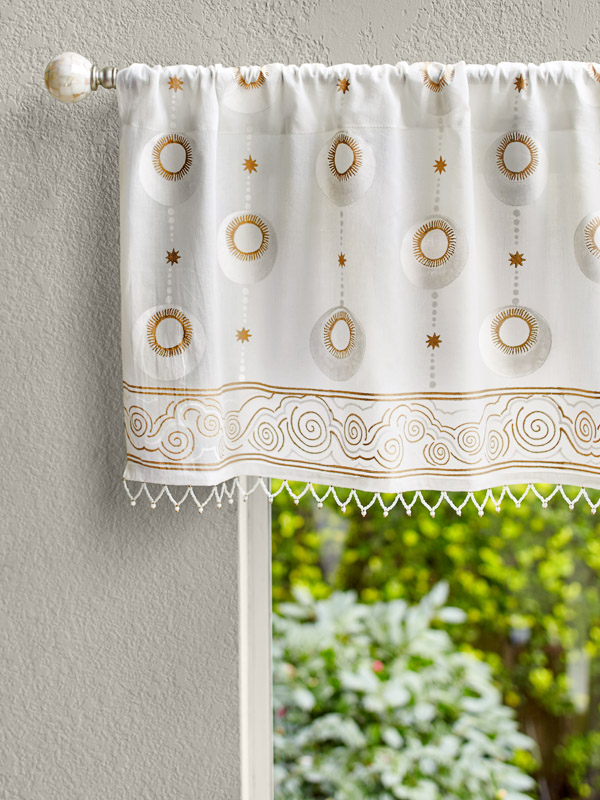 boho moon and star pattern white sheer beaded valance curtains as zen decor