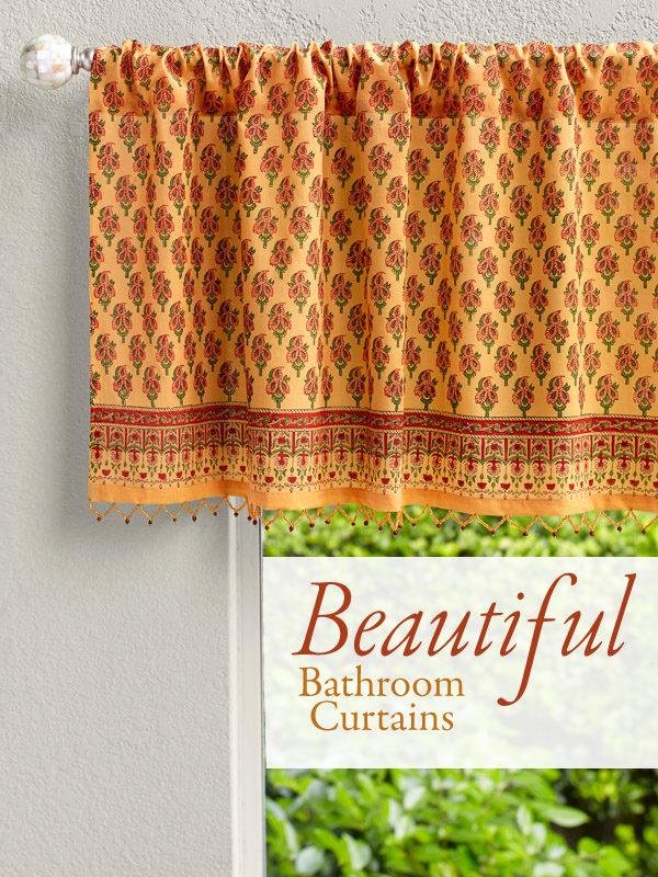bathroom curtains of orange beaded valance and indian print