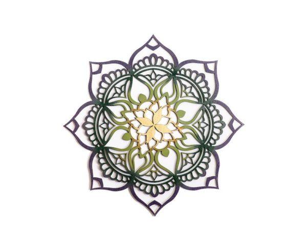 zen home decor mandala in green gold and purple