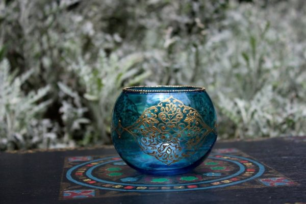 blue and gold candle holder for zen home decor
