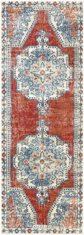 Red rust and blue bohemian rug as Moroccan home decor