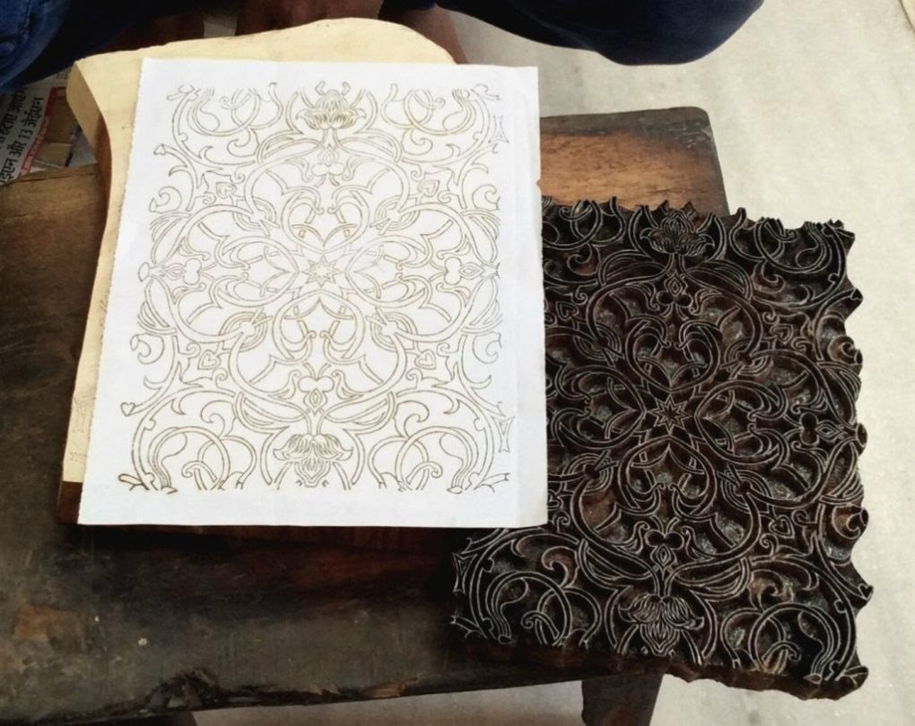The outline of a block print is essential to the wood carving and block printing process