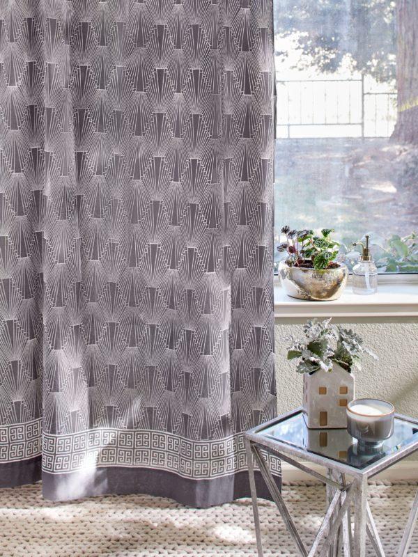 Geometric grey curtain with Art Deco pattern