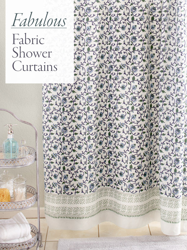 elegant shower curtains with blue green and white botanical print on the fabric shower curtain