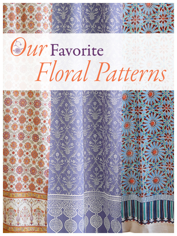 floral patterns & curtains, L-R an orange vintage floral print, a lilac color floral pattern, and a bright blue and orange Moroccan print