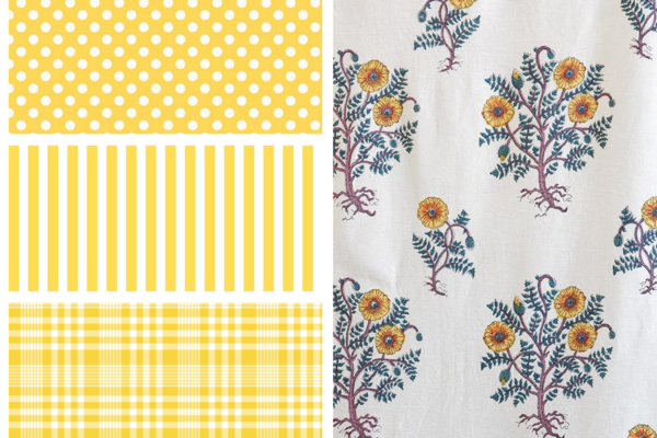 yellow and white polka dots, yellow and white stripes, yellow plaid, and a poppy yellow floral pattern floral fabric