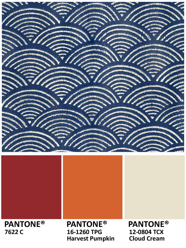Decorating with blue and cream, crimson, and pumpkin for Thanksgiving colors