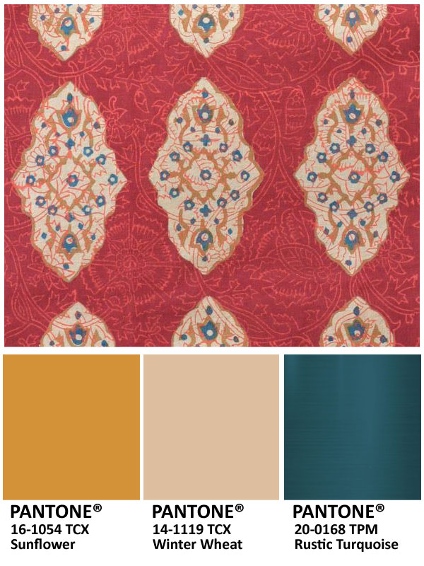 Dark gold, deep teal, ruby, and beige make for lovely, unexpected Thanksgiving colors