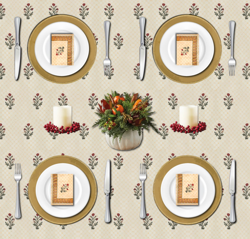 A traditional and elegant Thanksgiving tablecloth and elegant Thanksgiving table setting