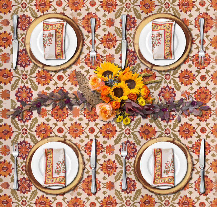 This Thanksgiving tablecloth anchors a natural Thanksgiving tablescape