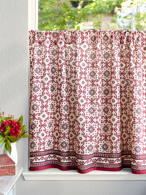 cream, black, and red cafe curtain