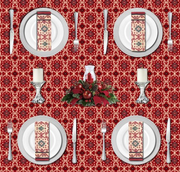 Traditional holiday table setting with black and red Christmas tablecloths