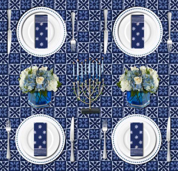 Hanukkah table runner and Hanukkah table decoration