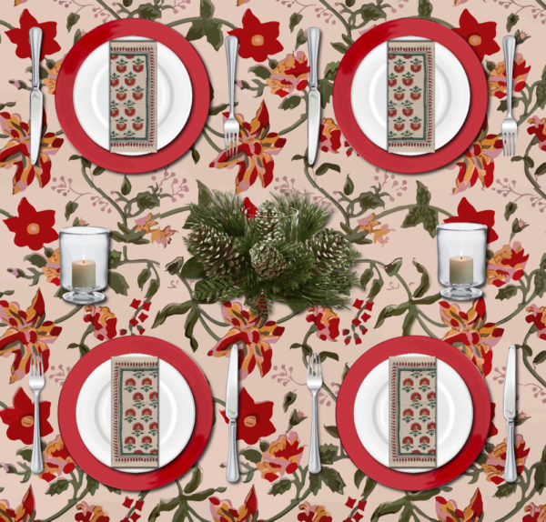 Christmas tablescape with vintage Christmas tablecloths in a red floral pattern