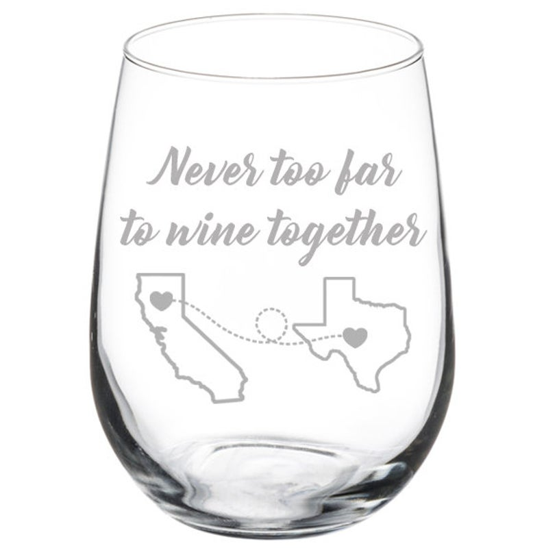 Christmas gifts for her, wine glass, long distance best friend gift