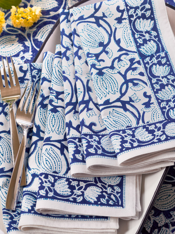 blue cloth napkins with blue floral pattern