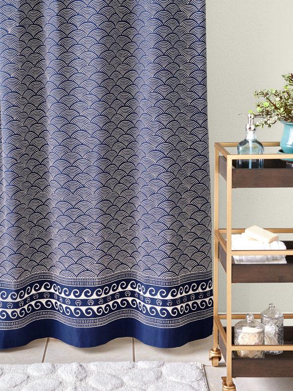 navy blue coastal shower curtain, pacific blue