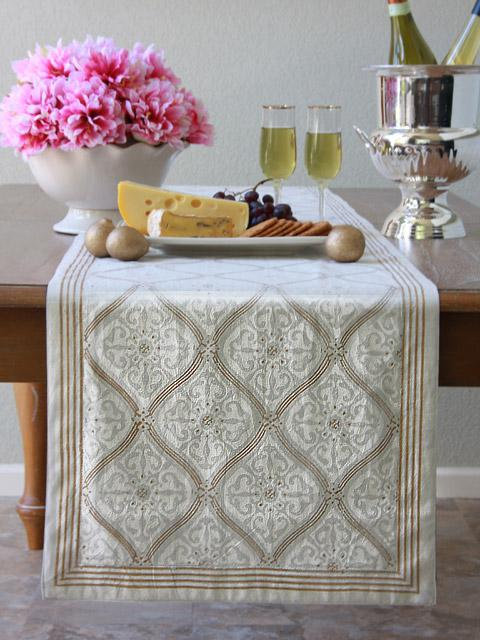white and gold table runner, white and gold home decor, block print