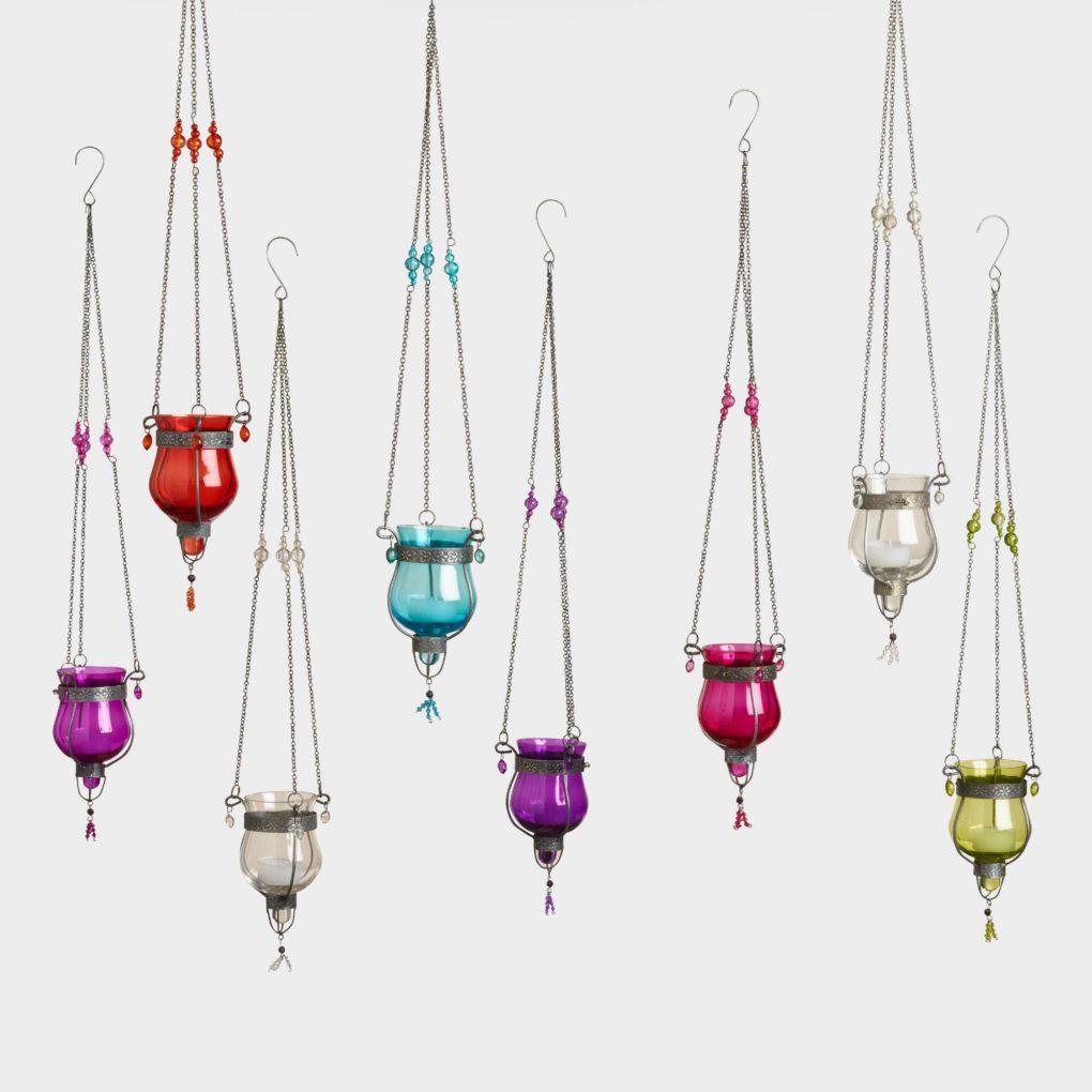 Moroccan decor, colorful glass lanterns