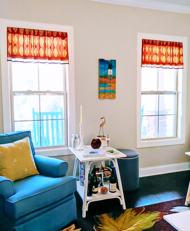 red Moroccan curtains, beaded valance curtains with Moroccan pattern