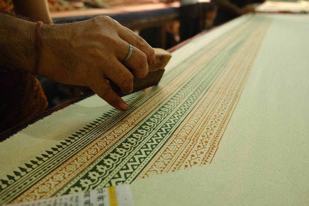 hand block printing on fabric