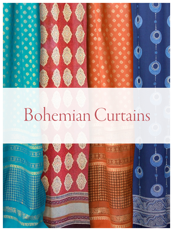 bohemian curtains ~sheer curtains with pattern ~indian curtains~moroccan curtains