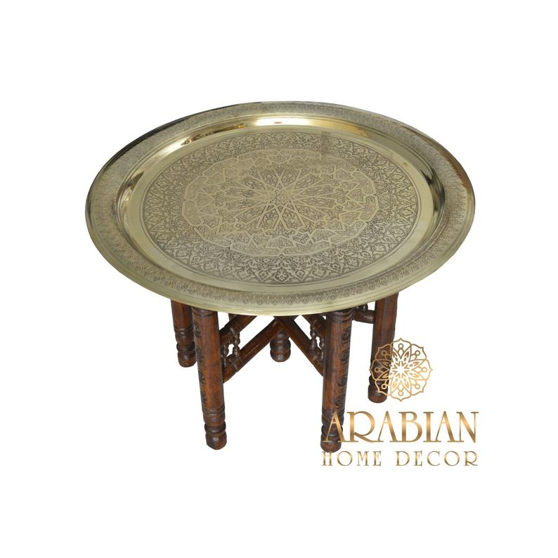 Moroccan deco, Moroccan brass tray table