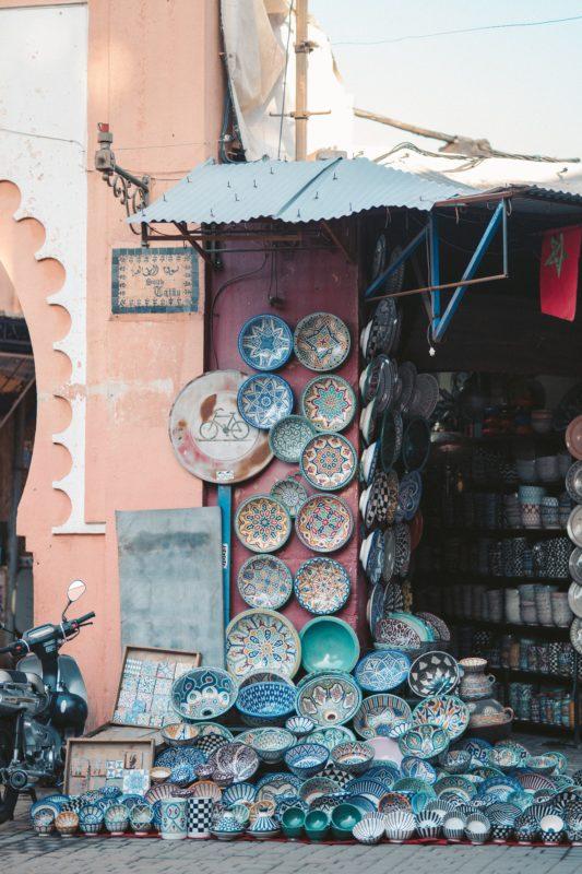 Marrakesh, Morocco decor plates on a wall