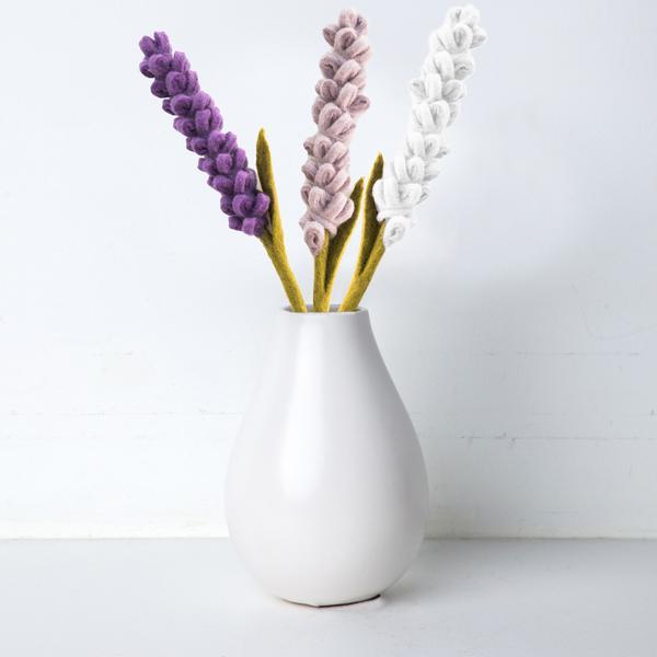 felt lavender floral bouquet in a white vase