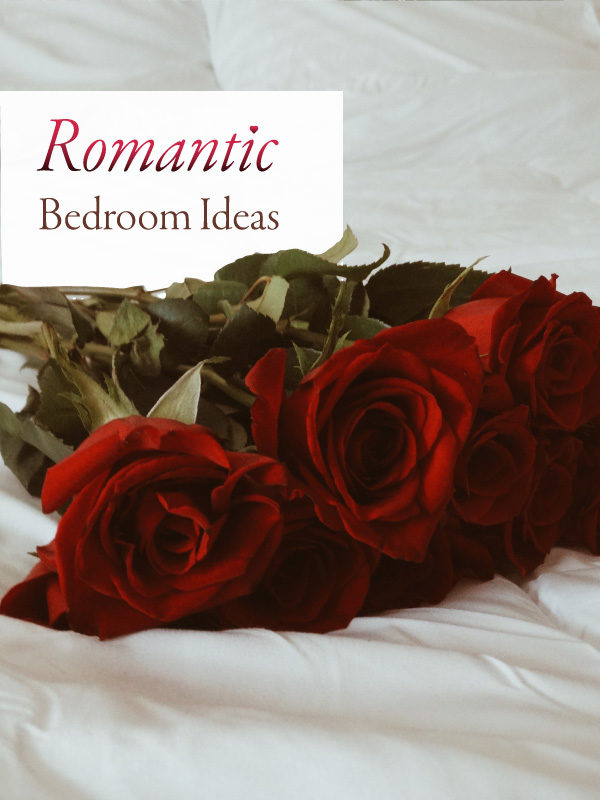 Red roses on a bed symbolize romantic bedding and other romantic updates and  Valentine's Day ideas