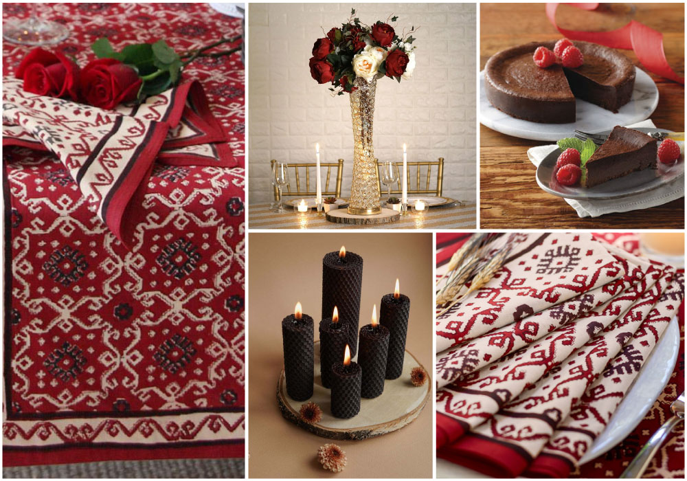 A black and red Valentine tablecloth sets the stage for a romantic table setting with black candles, a tall bouquet, chocolate cake, roses, and cloth napkins