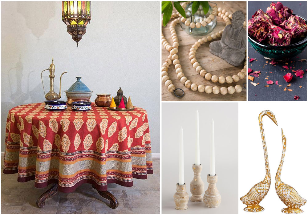 A red Valentine tablecloth with a Moroccan pattern for a bohemian style Valentine's Day table setting