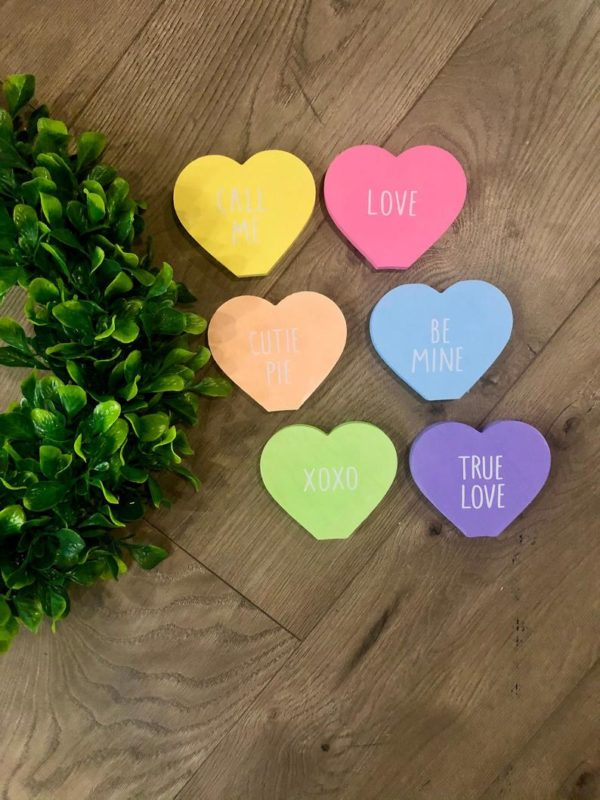 heart-shaped valentine's day table decor, table decorations that look like conversation hearts