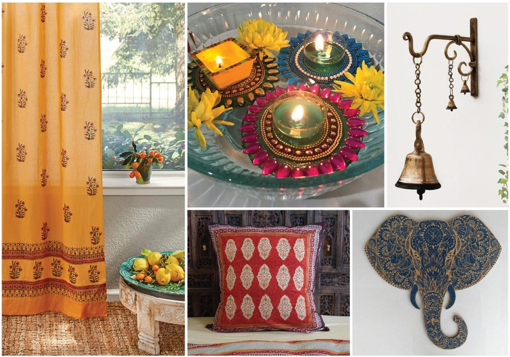 a collection of Indian decor with Indian print curtains, pillow, brass bell, and engraved elephant decor