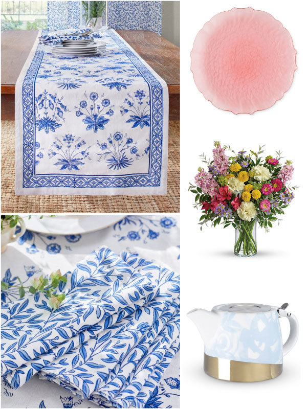 a collage with a blue and white spring table runner, cloth napkins, and items for a spring table setting in classic spring colors