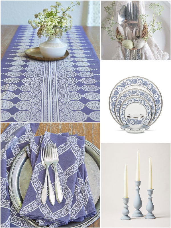 spring table runners and cloth napkins in a lilac color with blue accents, candles, and spring table decor