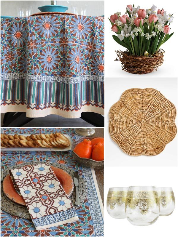 spring tablecloths and table runneres in a blue floral print in a Moroccan tile pattern along with spring table decor