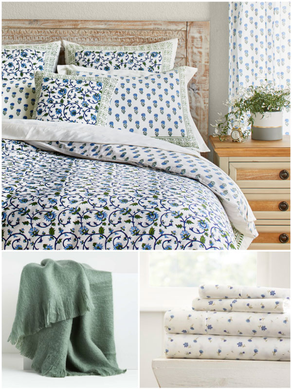 blue and green botanical bedding with a green vine and blue floral pattern, a sage green blankets, and blue flower sheets