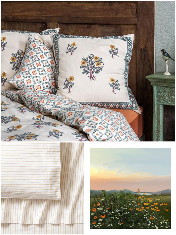 a floral pattern pillow, floral bedding, yellow striped sheets, and a painting of sunset over the mountains and sunflower fields