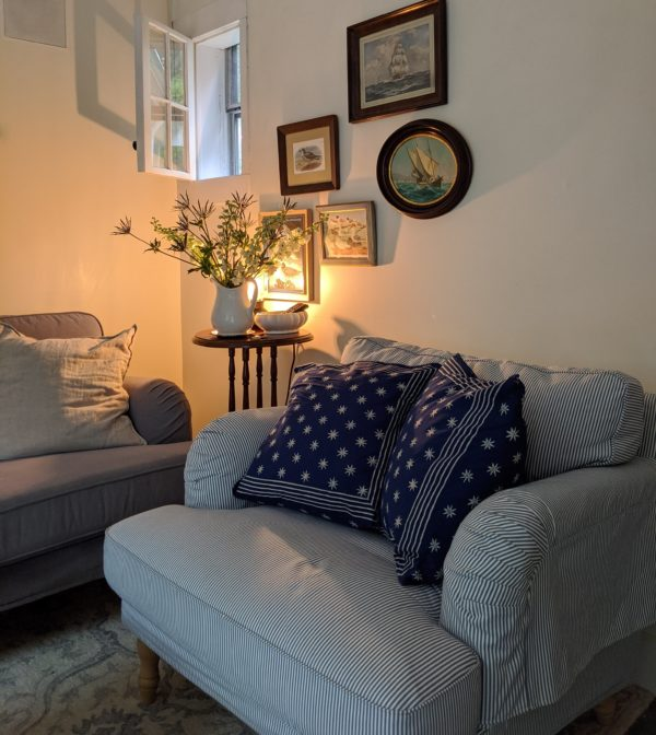 Blue and white star pattern pillow covers at Little Eastham Cottage