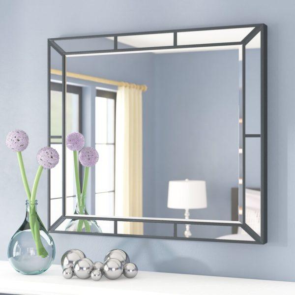 Art Deco pattern mirror in silver