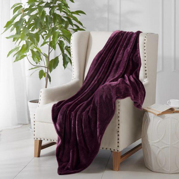 amethyst plum purple throw blanket